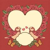 Kader met bloemen, vogels en hart Stock Foto's