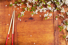 Kader met boombloesems en eetstokjes stock afbeeldingen