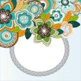 Kader met colorfullbloemen Stock Afbeeldingen