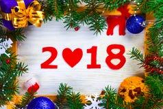 Kader met de aantallen van het nieuwe jaar Stock Foto's