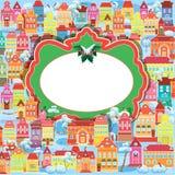 Kader met decoratieve kleurrijke huizen Stock Afbeelding