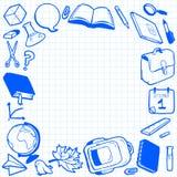 Kader met diverse schoolelementen Stock Afbeeldingen