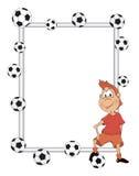 Kader met een voetballerbeeldverhaal Royalty-vrije Stock Foto's