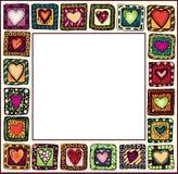 Kader met hand-drawn harten in krabbelkaders. Stock Afbeelding