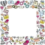 Kader met huwelijksvoorwerpen Stock Foto