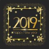 Kader met lichten en vlokken aan nieuw jaar stock illustratie