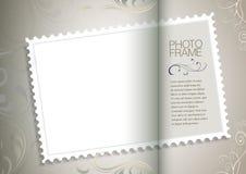 Kader met oude document en postzegel Stock Foto's