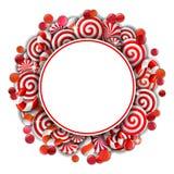 Kader met rood en wit suikergoed Stock Foto's