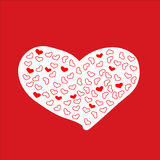 Kader met rood hart valentine Royalty-vrije Stock Foto's