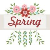 Kader met roze en blauwe bloemen voor de inschrijving Vector illustratie op witte achtergrond royalty-vrije illustratie