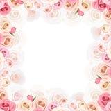 Kader met roze en witte rozen Vector illustratie Royalty-vrije Stock Fotografie