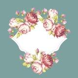 Kader met rozen De hand trekt waterverfillustratie Stock Afbeelding