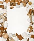 Kader met shells, stenen en hout Royalty-vrije Stock Afbeeldingen