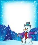 Kader met sneeuwmanonderwerp 1 Stock Afbeeldingen