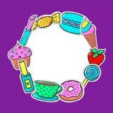 Kader met Snoepjes en Schoonheidsmiddelen Royalty-vrije Stock Fotografie