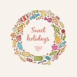 Kader met snoepjes en suikergoed Stock Afbeelding