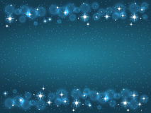 Kader met sterren op de donkerblauwe achtergrond, fonkelingen gouden symbolen - de ster schittert, stellaire gloed Royalty-vrije Stock Foto's