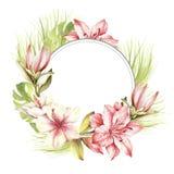 Kader met tropische bloemen en bladeren De hand trekt waterverfillustratie Royalty-vrije Stock Foto's