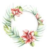 Kader met tropische bloemen en bladeren De hand trekt waterverfillustratie Stock Afbeeldingen