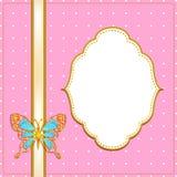 Kader met vlinder, roze Stock Foto