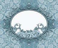 Kader met vogel en bloem op achtergrond van kant en hart Royalty-vrije Stock Fotografie
