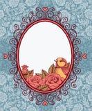 Kader met vogel en bloem op achtergrond van kant en hart Stock Foto