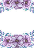 Kader met Waterverf Lichte Violet Flowers And Leaves Stock Afbeelding