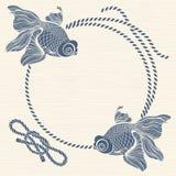 Kader met zeevaartkabelknopen en vissen Hand getrokken illu Royalty-vrije Stock Afbeelding