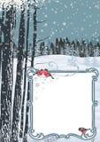 Kader op een de winterlandschap Stock Afbeelding