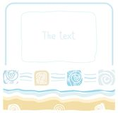 Kader, overzees, oceaan, strand, zand, shell, schaaldieren, vlakke kleur, Stock Afbeelding