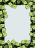 Kader uit geld Vele dollars het vliegen Ruimte voor tekst Contant geld gr. Stock Afbeeldingen