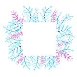 Kader van bloemen en takjes Waterverftekening, een patroon van bladeren, op een witte achtergrond voor het ontwerp van uitnodigin vector illustratie