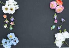 Kader van bloemen op zwarte stock afbeeldingen