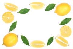 Kader van citroen met bladeren op witte achtergrond met exemplaarruimte wordt geïsoleerd voor uw tekst die Vlak leg, hoogste meni Royalty-vrije Stock Foto