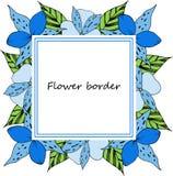Kader van de bloem het vectortekening Hand getrokken bloemenhuwelijksuitnodiging, etiketmalplaatje, verjaardagskaart royalty-vrije illustratie