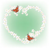 Kader van de de kersenbloesem en vlinders Stock Afbeeldingen