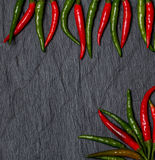 Kader van de rode en groene peper van Chili Stock Afbeeldingen