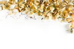 Kader van de spaanders van het kleurenpotlood op een Witboek wordt gemaakt dat Royalty-vrije Stock Foto's