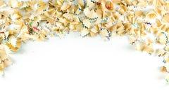 Kader van de spaanders van het kleurenpotlood op een Witboek wordt gemaakt dat Stock Foto's