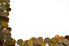 Kader van ge?soleerde euro muntstukken stock fotografie