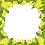 Kader van gele citroenvruchten met groene bladeren dat op witte achtergrond in mooie stijl wordt geïsoleerd Met de hand gemaakte  stock illustratie