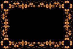 Kader van geschilderd ornament op een zwarte achtergrond Stock Foto's