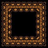 Kader van geschilderd ornament op een zwarte achtergrond Royalty-vrije Stock Fotografie
