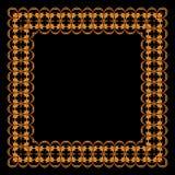 Kader van geschilderd ornament op een zwarte achtergrond Royalty-vrije Stock Afbeeldingen