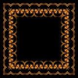 Kader van geschilderd ornament op een zwarte achtergrond Stock Fotografie