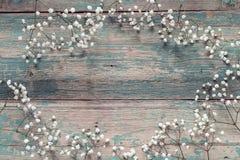 Kader van gevoelige kleine witte bloemen op oude blauwe achtergrond Fr stock afbeeldingen