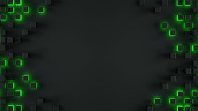 Kader van gloeiende groene kubussen 3D illustratie stock illustratie