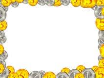 Kader van gouden zilveren muntstukken op witte achtergrond Royalty-vrije Stock Afbeeldingen