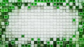 Kader van groene 3D kubussen abstracte achtergrond met beschikbare ruimte royalty-vrije illustratie