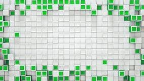Kader van groene en witte 3D dozen en vrije ruimte vector illustratie